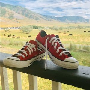 Red and White Low Top Converse Size 8
